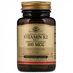 SOLGAR Naturally Sourced Vitamin K2 Mk-7 From Natto Extract 100mcg 50vegcaps