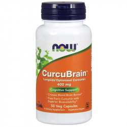 NOW CurcuBrain Longvida Optimized Curcumin 400mg 50vegcaps