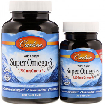 CARLSON Wild Caught Super Omega-3 Gems 1,200mg Omega-3s 100caps + 30caps