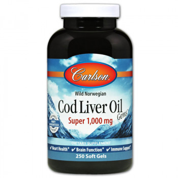 CARLSON Wild Norwegian Cod Liver Oil Gems Super 1,000mg 250caps