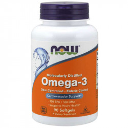 NOW Molecularly Distilled Omega-3 Odor Controlled-Entric Coated 90caps