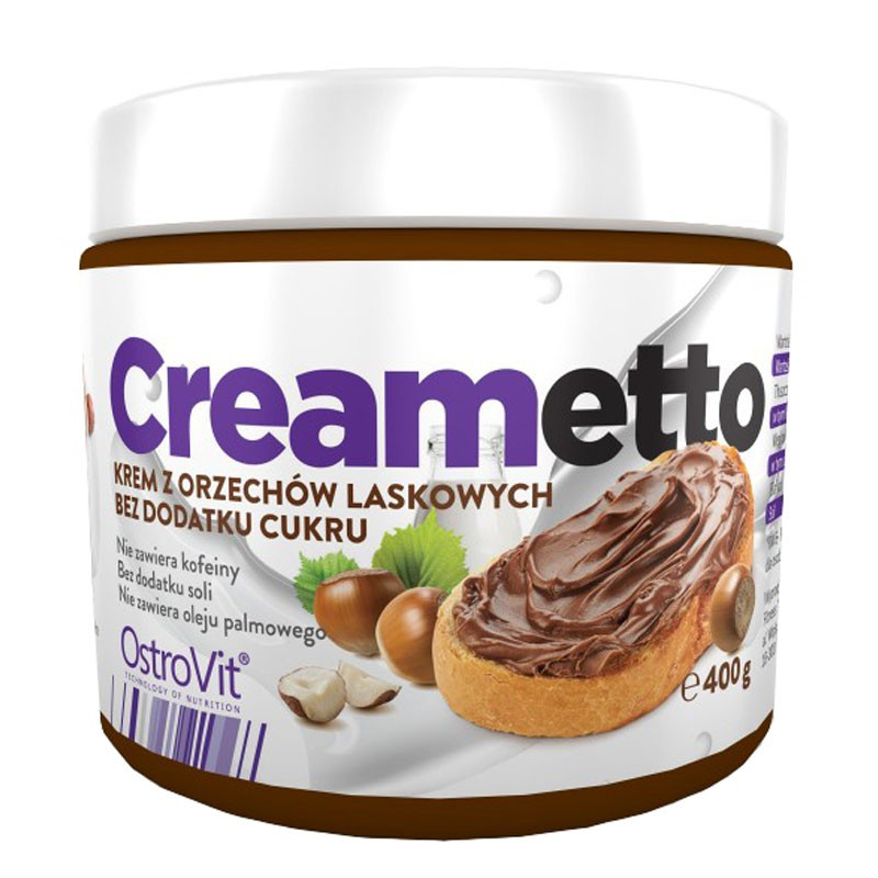 OSTROVIT Creametto 400g Krem Orzechowy Bez Dodatku Cukru
