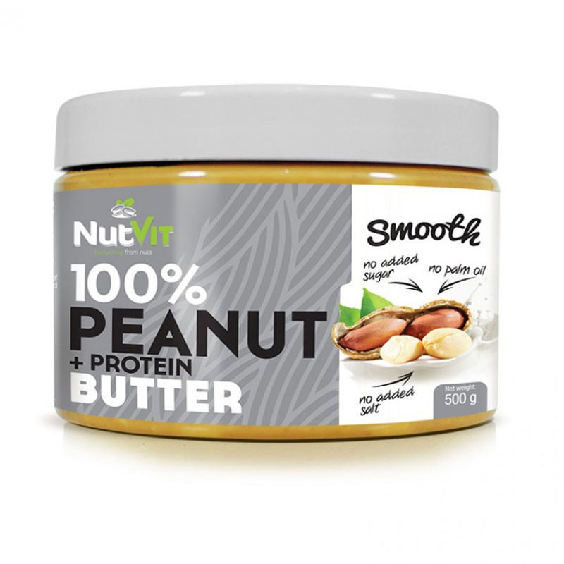 NutVit 100% Peanut + Protein Butter Smooth 500g