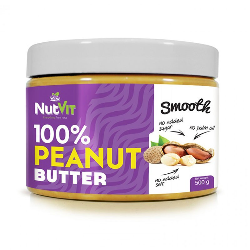 NutVit 100% Peanut Butter Smooth 500g MASŁO ORZECHOWE