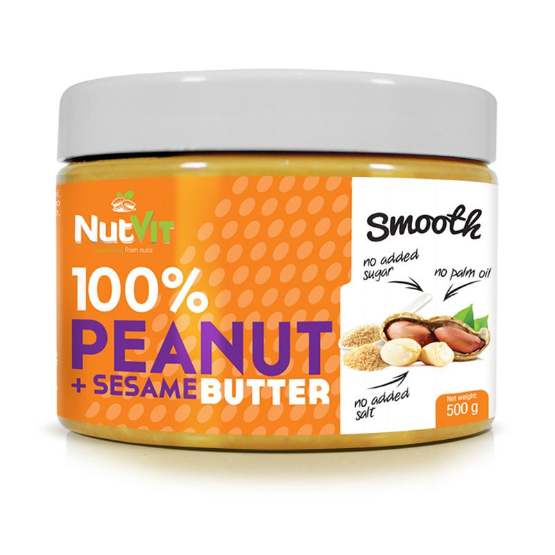 NutVit 100%Peanut + Sezame Butter Smooth 500g