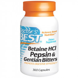 DOCTOR'S BEST Betaine HCl Pepsin&Gentian Bitters 360caps