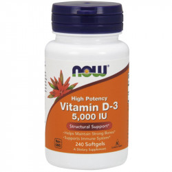 NOW High Potency Vitamin D-3 5,000 IU 240caps