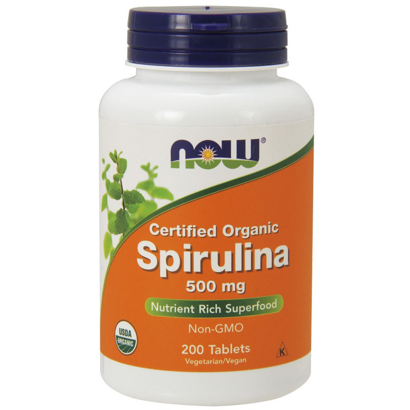 NOW Certified Organic Spirulina 500mg 500tabs
