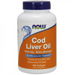 NOW Cod Liver Oil 1000mg Extra Strength 180caps