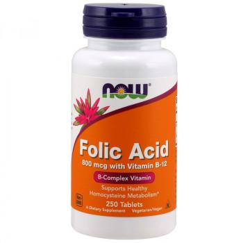 NOW Folic Acid 800mcg With Vitamin B-12 250tabs