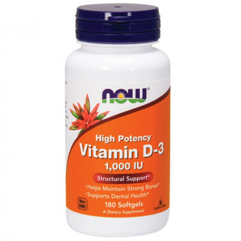 NOW High Potency Vitamin D-3 1,000 IU 180caps