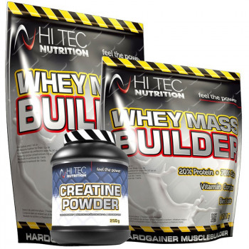 HI TEC Whey Mass Builder 3000g + 1500g GRATIS! + Creatine Powder 250g