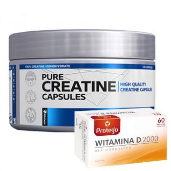 Formotiva Creatine Capsules 120caps + Protego Witamina D 2000 60caps