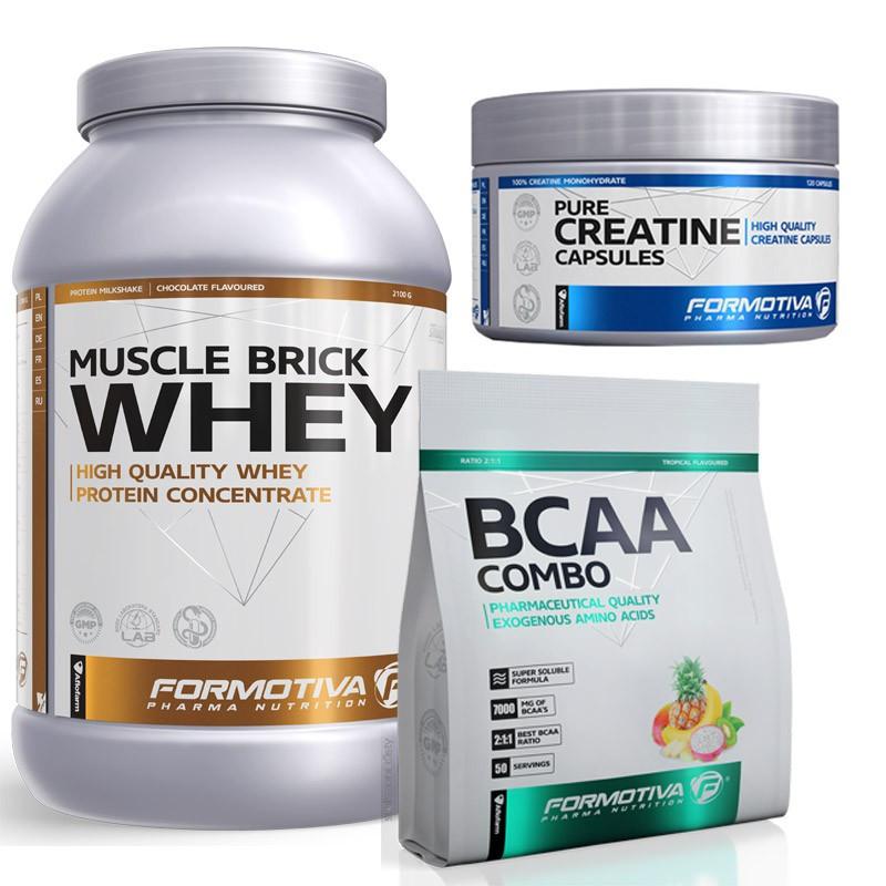 Formotiva Muscle Brick Whey 2100g + Formotiva Bcaa Combo 500g + Formotiva Creatine Capsules 120caps