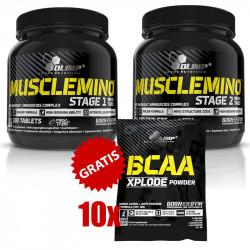 OLIMP Musclemino Stage 1 Mega Tabs 300tabs + Stage 2 Mega Tabs + 10x OLIMP BCAA Xplode Powder 10g GRATIS!!!