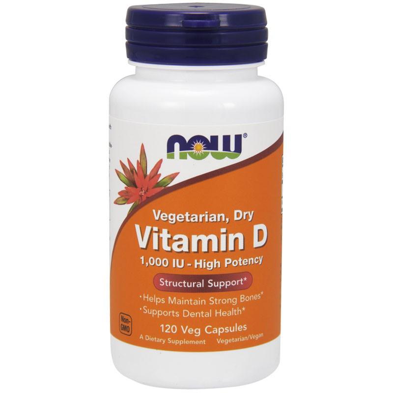 NOW Vegetarian Dry Vitamin D 1,000 IU-High Potency 120vegcaps