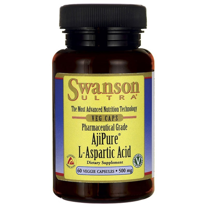 SWANSON Pharmaceutical Grade AjiPure L-Aspartic Acid 500mg 60vegcaps