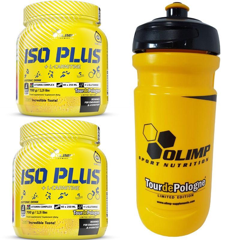 2xOLIMP Iso Plus TourDePologne 700g + OLIMP Bidon TourDePologne Yellow 600ml