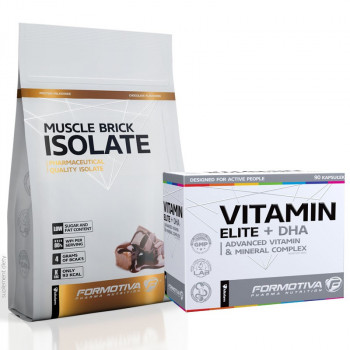 FORMOTIVA Muscle Brick Isolate 600g + Vitamin Elite + DHA 90caps GRATIS!